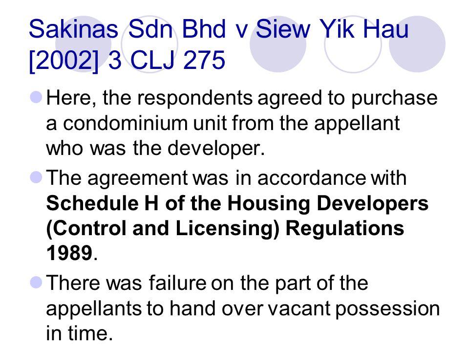 Sakinas Sdn Bhd v Siew Yik Hau [2002] 3 CLJ 275